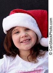 peu, chapeau, girl, santa, heureux