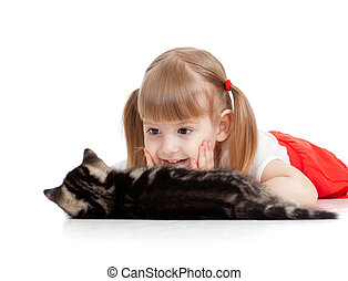 peu, chat, regarder, fond, enfant, blanc