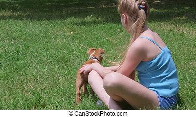 peu, chiot, elle, chien, girl, herbe