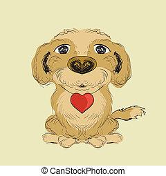 peu, coeur, main, illustration, chien rouge, dessiné