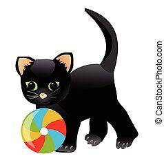 peu, coloré, chaton, isolé, illustration, chat, espiègle, arrière-plan., enfant noir, blanc, jouer, dessin animé, ball.