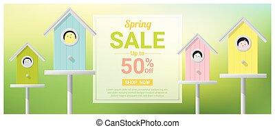 peu, coloré, printemps, vente, 1, birdhouses, bannière, oiseaux