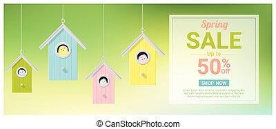 peu, coloré, printemps, vente, 2, birdhouses, bannière, oiseaux