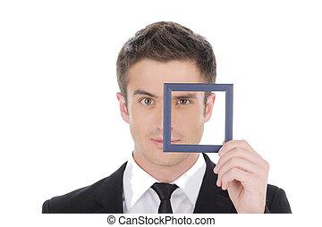 peu, confiant, homme affaires, par, jeune, isolé, frame., homme, image, quoique, cadre, formalwear, regarder, blanc