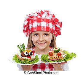 peu, créatif, chef cuistot, sandwichs, girl, heureux