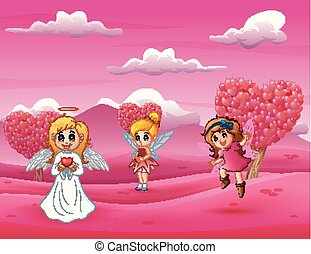 peu, cupidon, mère, fée, dessin animé, heureux