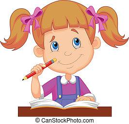 peu, dessin animé, girl, étudier