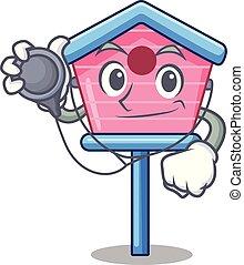 peu, docteur, maison, dessin animé, printemps, oiseau