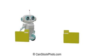 peu, documents, robot, porte, animation, canal alpha, 3d