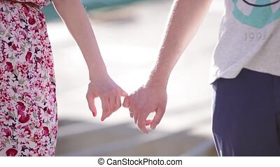 peu, doigts, tenant mains