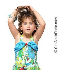 peu, elle, cheveux, augmentations, girl, adorable