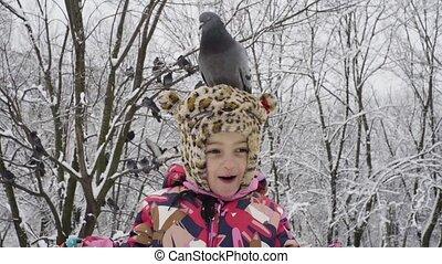 peu, elle, parc, tête, girl, colombe