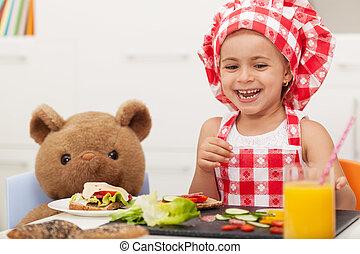 peu, encas, elle, ours peluche, girl, avoir, heureux