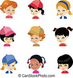 peu, ensemble, girl, dessin animé, faces