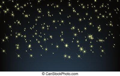 peu, entiers, étoile, scintillement, ciel, stars., vecteur, arrière-plan., nuit, ton