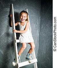 peu, escalier, girl