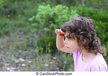peu, explorateur, parc, recherche, forêt, girl