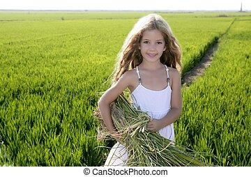 peu, extérieur, champs, vert, paysan, portrait, girl, riz