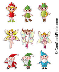 peu, fée, bébé, icône, dessin animé