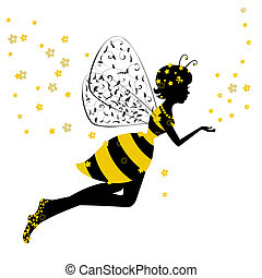 peu, fée, girl, abeille