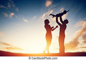 peu, famille, enfant, leur, parents, ensemble, heureux, sunset.