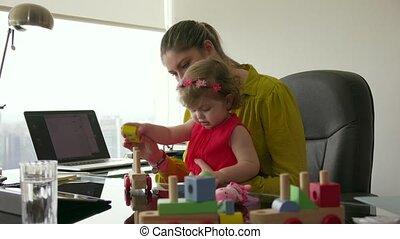 peu, femme, bureau, carrière, 5, bébé