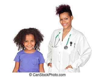 peu, femme, jolie fille, pédiatre
