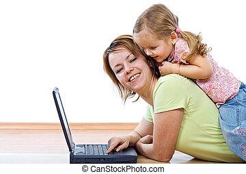 peu, femme, ordinateur portable, girl