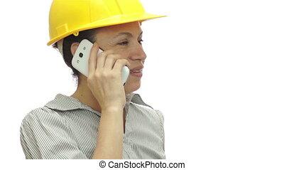 peu, femme, téléphone, hardhat, morceau, attente