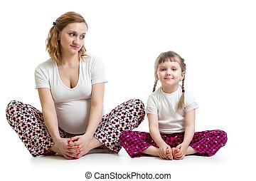 peu, femme, yoga, pregnant, jeune, exercices, gosse