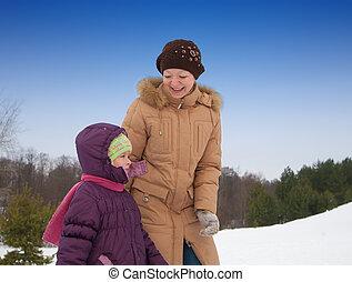 peu, fille femme, hiver