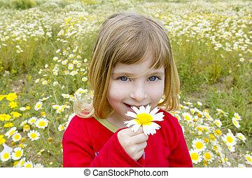 peu, fleur, pré, printemps, pâquerette, blonds, sentir, girl
