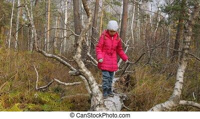 peu, forêt, automne, girl