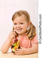 peu, fruit, girl, salade, heureux