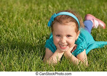 peu, gai, vert, sourire, herbe, girl