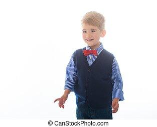 peu, gilet, arrière-plan bleu, isolé, garçon, cravate, arc, blanc rouge