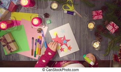 peu, glues, handicraft., année, nouveau, girl, enfants, carte