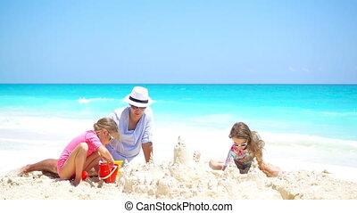 peu, gosses, père, exotique, sable, confection, plage château