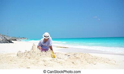 peu, gosses, père, jeune, exotique, sable, confection, plage château