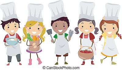peu, gosses, stickman, chefs, illustration