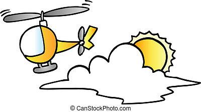 peu, hélicoptère, vecteur, mignon