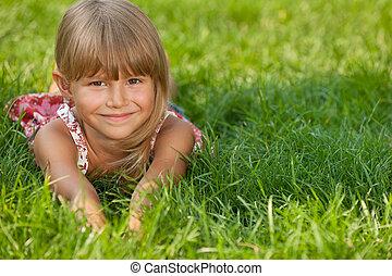peu, herbe, girl, joyeux