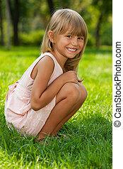 peu, herbe, parc, girl, assied