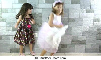 peu, heureux, filles, danse