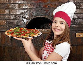 peu, heureux, girl, pizza