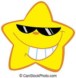peu, heureux, lunettes soleil, étoile