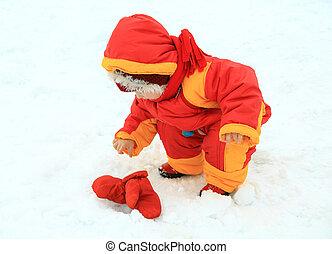 peu, hiver, neigeux, parc, dorlotez fille, jouer