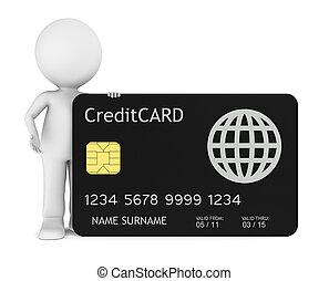 peu, humain, crédit, tenue, carte, 3d