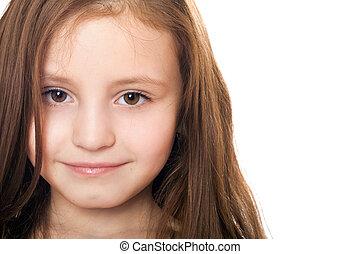 peu, isolé, girl., closeup, joli, portrait