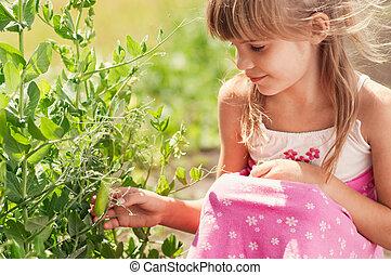 peu, jardin, girl